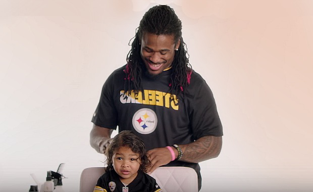 Dads do daughters' hair with dad-do #4 by NFL's DeAngelo Williams The Princess Puff for Pantene